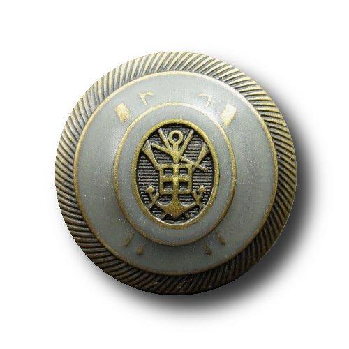 Knopfparadies - 6er Set leicht gewölbte Blazerknöpfe / Wappen / Heraldik / altmessing taubenblau / Ø : ca. 20mm - Wappen-knöpfe