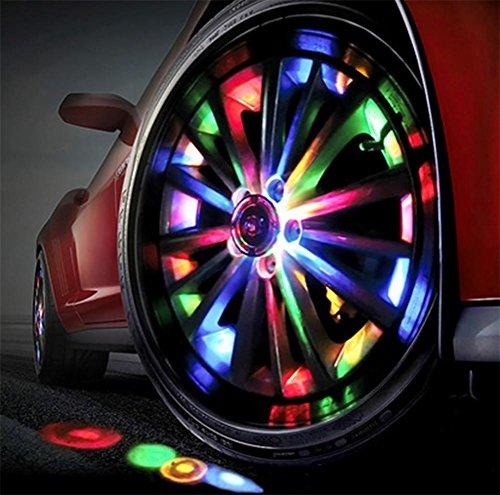 QIEI 7 Farben Solar Energie RGB Flash Auto Rad Reifen Ventilkappe Lichter W/Fernbedienung (4 Stück)
