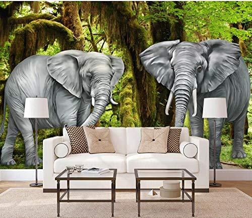 Murales de papel tapiz fotográficos 3D personalizados original elefante bosque naturaleza madera fondo pared pintura decorativa @ 200 * 140 cm