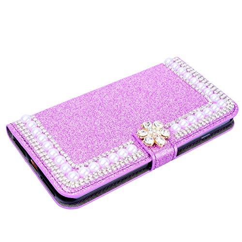 SMART LEGEND Lederhülle für iPhone X Ledertasche Glitzer Hülle Gold Bling Diamant Schutzhülle mit Kartenfach Handyhülle Premium PU Leder Flip Wallet Case Protective Cover Innere Weiche Silikon Bookcas Lila
