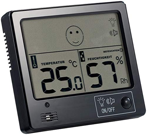 FreeTec Zimmerthermometer: Raumklima-Thermometer mit Hygrometer mit Alarmfunktion (Digitale Thermometer Hygrometer)