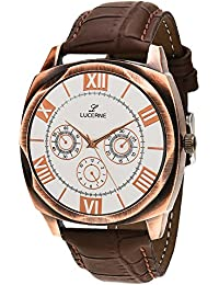 LUCERNE Analog White Designer Dial Brown Leather Strap Casual Gifts Watch For Men A Modern Gents Watches Gifts...