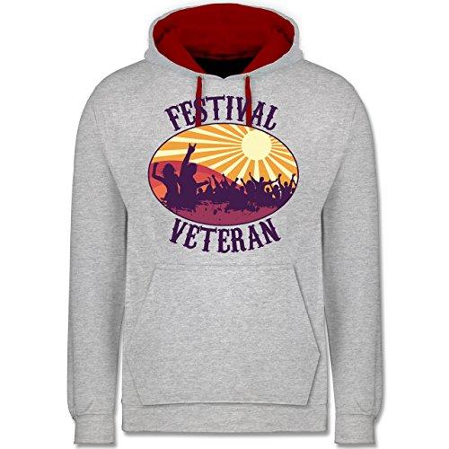 Festival - Festival Veteran Badge - Kontrast Hoodie Grau Meliert/Rot