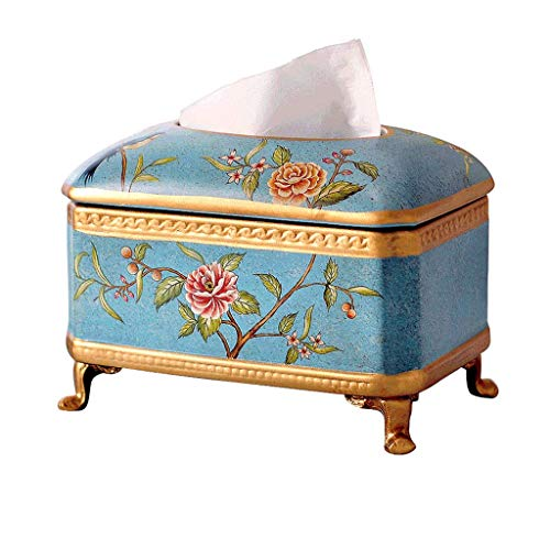 JOAIA Keramik Tissue Box Cover Halter für Wohnzimmer, Retro Tray Papier Handtuchhalter/Blau / 22cm×14cm×17.5cm (Keramik Tissue Box Cover)