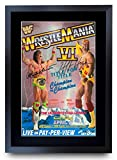 HWC Trading A3 FR WrestleMania 6 Programme Poster Hulk Hogan Ultimate Warrior Signed Gift FRAMED A3 Printed Autograph WWF WWE Wrestling Gifts Print Photo Picture Display