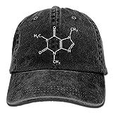 Jocper Caféine Molecule Gamer Nerd Geek Science Casquette en Coton Réglable en Coton Lavé Bleu Marine