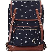 """Estilo casual de algodón puro / PU cuero Mochila 14 """"Laptop Backpack Travel College School Bolsa de hombro Mochila de viajar para Adolescentes / Estudiantes / Mujeres"""