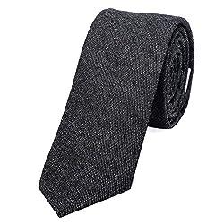 DonDon Herren Krawatte 6 cm Jeans-Look Baumwolle antrahzit
