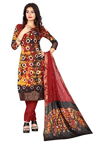 Shree Sondarya Bandhani Women's Cotton Dress Material (Bssb-Dm4067B_Multicolor_Free Size)