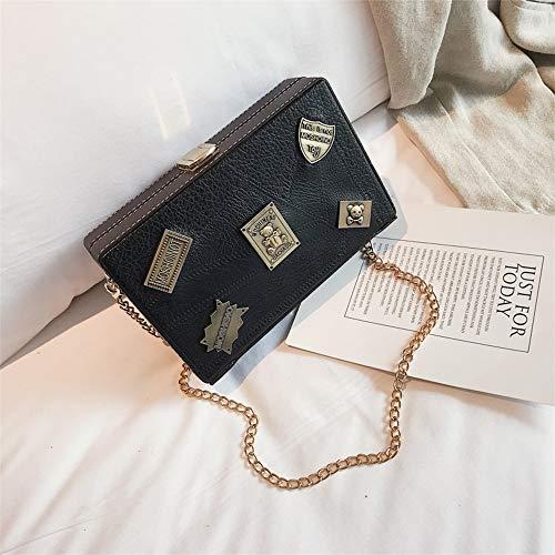 ZLULU Damen-Schultertaschen Damenhandtaschen Tasche Weibliche Wilde Einzelne Schulter Gewickelt Handytasche Kettenschloss Kleine Quadratische Tasche, B