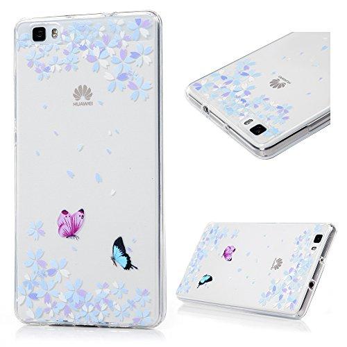 Cover Custodia per Huawei P8 Lite TPU Ultra Sottile Leggero Flessibile Liscio KASOS Case Anti-Graffio Anti-Scossa Anti-Polvere Modello di Farfalla e