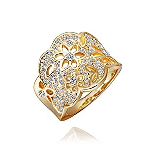 DUMAN 18K Yellow Gold Plated Swarovski Elements Crystal Hollow Flowers Ring, Size Q