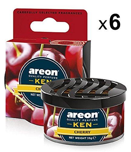 AREON Ken Deodorante Auto Ciliegia Dolce Ambiente Profumatore Contenitore Scatola Originale Profumo Interni Casa 3D (Cherry Set x 6)