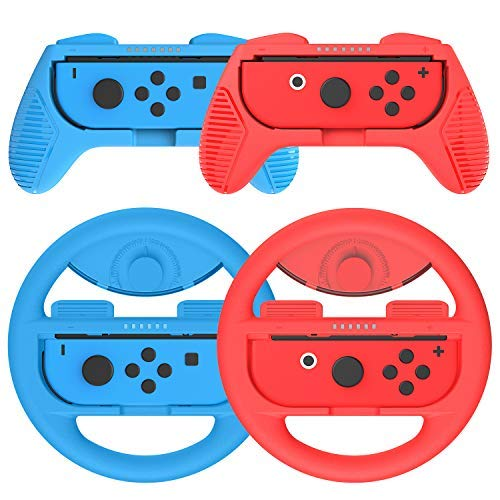 Joy-Con Grip (2 Pack) Joy-Con Steering Wheel (2 Pack) for Nintendo Switch,Momen Steering Wheel Grips for Nintendo Switch Joy-Con, Controller Game Grip Handle Kit (Red & Blue) - Deluxe-build-kit