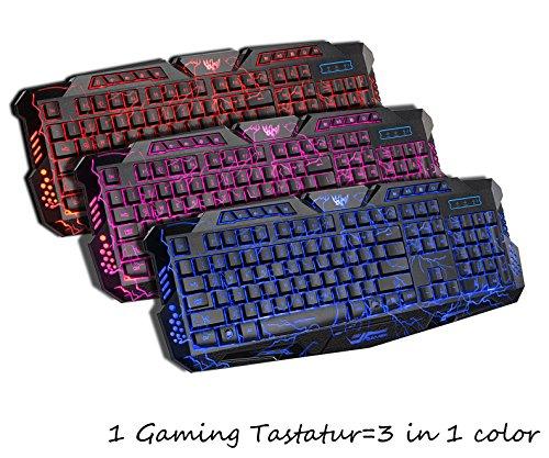 Nuvola di Y Gaming Tastiera (in inglese), Giocatore attrezzature di fondo con tre colori tastiera retroilluminata + TRE possono Retroilluminazione passare (104tasti con cavo USB) (nero) nero A878