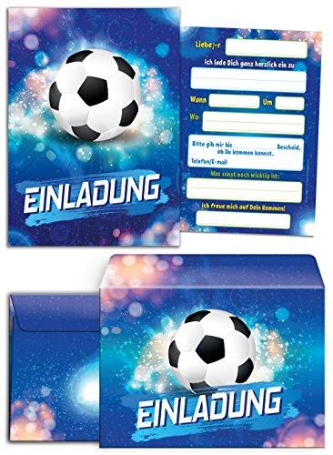 12 Einladungskarten incl. 12 Umschläge Kindergeburtstag Jungen Fussball Geburtstag Turnier Jungs Geburtstagseinladungen Einladungen Geburtstagsparty Kartenset Fußball-Party
