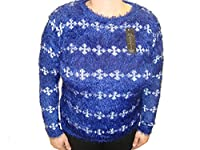 Ladies Women Round Neck Cross Patterned Fluffy Furry Mohair Top Jumper Sweater