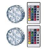 LEDGLE Unterwasser Licht mit Fernbedienung, 10 LEDs, batteriebetrieben, IP68 Wasserdicht, Kabelloses Design, 2Pcs
