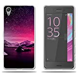 Sony Xperia X Performance / Dual F8132 Hülle, FUBAODA [Sunset Snowy Mountains] Transparente Silikon TPU Glamour Serie Slim Fit Shockproof Flexible Vollschutz Anti Schock Design Blumen gedruckt Blume für Sony Xperia X Performance / Dual F8132