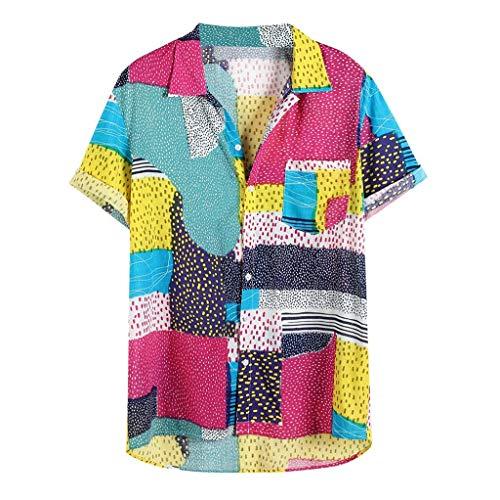 Baumwoll Point-kragen Bluse (ODRD Herren T Shirts, Oversize Tops Mens Hit Farbe Patchwork Mosaik Gitter Hawaii Features Point Brusttasche Umlegekragen Kurzarm Shirt Shortsleeve Basic Shirt)