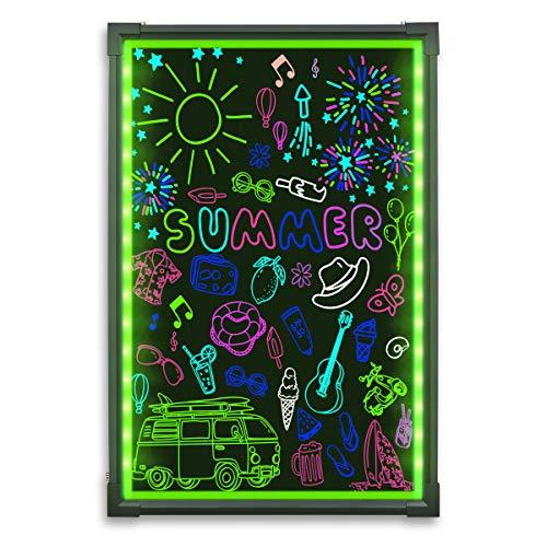 LED Schreibtafel Hosim, 60cm x 40cm beleuchtet Erasable Neon-Effekt Restaurant Menü Schild mit 28 Blinkmodus-Fernbedienung, 7 Farben und blinkende Mode DIY Tafel für Küche Hochzeit