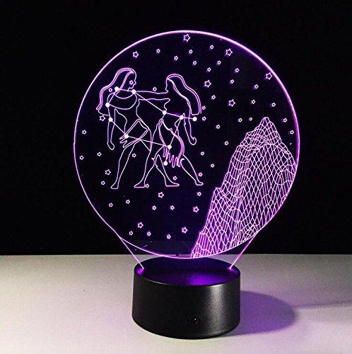 BIUODY 3D Desk Lamp da tavolo luce creativa di notte della luce in camera da (Gemini Tavolo)