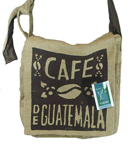 Fair Trade guatemaltekischen hessischen Jute Kaffee Schultertasche M36L Natürlich: Braun