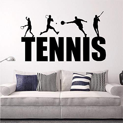 Hlonl Tennis Player Wandaufkleber Tennis Logo Wand Kunst Wandbilder Neue Design Gym Decor Abnehmbare Tennis Wandtattoos 97 * 57 Cm