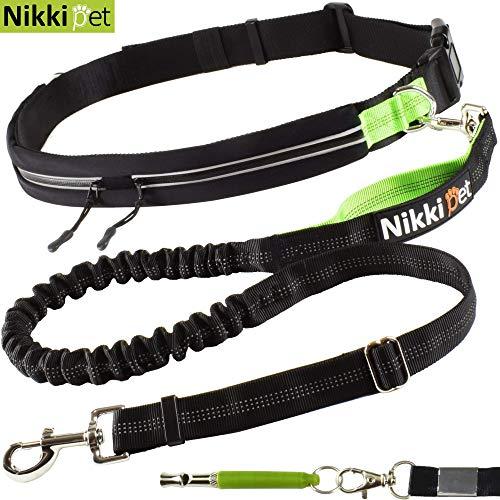 Nikkipet Joggingleine verstellbar | Joggingleine Hunde | Jogging Hundeleine für große und mittelgroße Hunde | Laufleine für Hunde | Bauchgurt Hundeleine wasserabweisend | Leine Hund Laufen Joggen