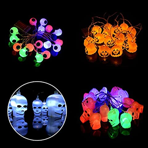 ECOSWAY 3Pcs/set Halloween Jack-O-Lantern String Lights, 16 LED Battery-Powered Decoration Pumpkin/Skull/Eyeball String Lights, Fairy Halloween Lighting for Indoor/Outdoor, Festival, Party, Holiday, Halloween