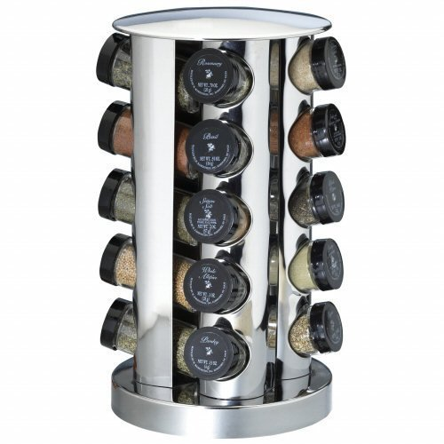 Kamenstein 20 Jar Filled Revolving Spice Rack Stainless Steel by