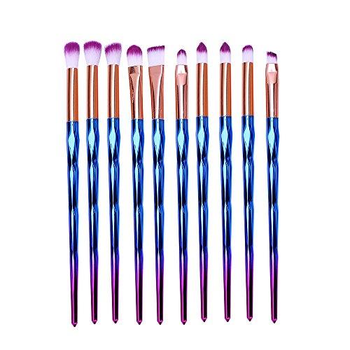 Pinceaux Maquillages, Eouine Licornes Makeup Brushs 10 pièces Professionnel Kit Pinceau Maquillage Brosse Brush de Beauté Outils pour Sourcils, Yeux, Joues, Teint, Visage (Coloré)