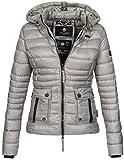 Navahoo Damen Jacke Steppjacke Übergangsjacke gesteppt Kapuze 11 Farben B602 [B602-Grau-Gr.S]