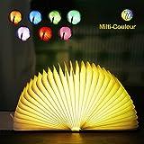Lampe de livre LED, EVILTO Lampe de lecture pliante 7 couleurs Lampe de chevet Lampe LED magnétique 1800mAh Cuir PU Veilleuse Lumières Décoratives Rechargeable par USB cadeau.