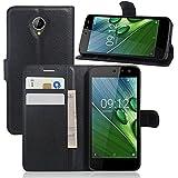 Funda para Acer Liquid Zest Carcasa,Vikoo Flip Cover Tapa de Cuero de La PU Case de la Cartera con Ranuras para Tarjetas Incorporadas para Acer Liquid Zest Smartphone Case - Negro