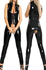 Idea Regalo - DuuoZy Cuoio del Faux delle donne con apertura sul cavallo Catsuit sexy bagnato Notte Cocktail Party Cosplay Punk Body stretta , black , m