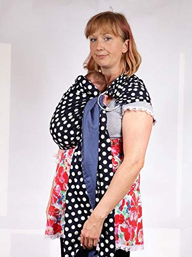 Baby Ring Sling Carrier - Blue and White Polka Dot  Palm & Pond