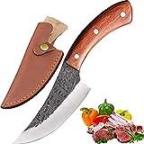 Promithi coltelli da Cucina Chef Professionali Giapponesi, Fatti a Mano coltelli da disosso Curvo con Manico in Legno, mannai