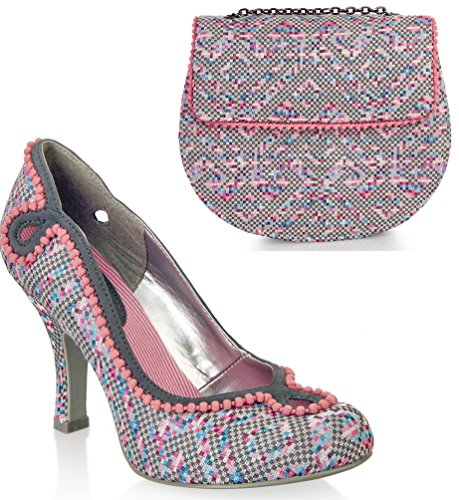 Ruby Shoo UK 7 EU 40 Grey Pink Miley Brocade Court Shoe Pumps & Miami Bag