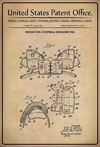 US Patent Football Schulter Schutz Shoulder Pad 1960 Blechschild Schild Blech Metall Metal Tin Sign 20 x 30 cm - Patent-metall