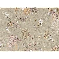 Tapete Floral Vintage Blumen Vögel Holzoptik Mit Glitter In Vinyl Waschbar  Grün Mit Goldenen Reflexen Pink