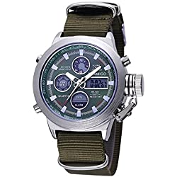 Beautiful Watches , BOAMIGO 5 ATM Waterproof Round Dial Stopwatch &Luminous &Alarm, Display Week Function Men Quartz + Digital Double Movement Watch with PU Leather Band