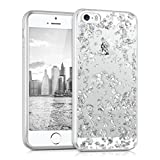 kwmobile Crystal Case Hülle für  Apple iPhone SE / 5 / 5S  aus TPU Silikon mit Flocken Design - Schutzhülle Cover klar in Silber Transparent