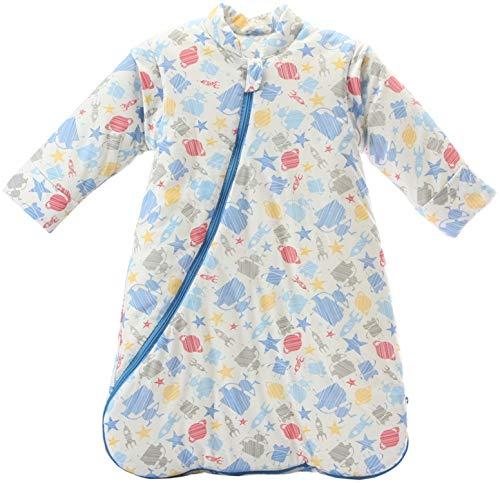 Missfly Baby Schlafsack mit abnehmbaren Ärmel Winter Angedickte, Blauer Roboter, M/Körpergröße 75-85cm