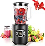 MeyKey Smoothie Maker Blender, 800W Jug Blender, 12-Speed Control Glass Jug for Shakes and Smoothies,Ice Crushing Blender,1.8L-Black
