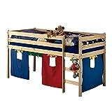 IDIMEX Hochbett Spielbett für Kinder ERIK Kiefer massiv natur lackiert mit Vorhangset & Rollrost 90 x 200 cm (B x L)