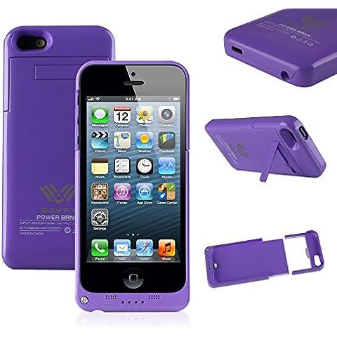 Funda Batería iphone 5 / 5s , SAVFY® Case carcasa Con Batería Cargador-batería Externa Recargable 2200mAh Para iPhone 5 / 5s (Púrpura)