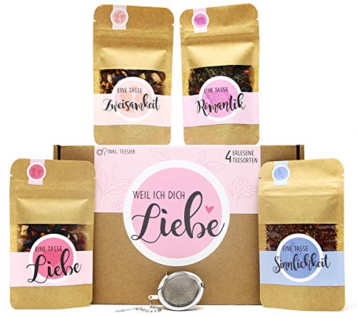 Weil ich Dich Liebe Tee Geschenk-Box mit 4 verschiedene Sorten Tee und Tee-Ei Geschenkidee Liebeserklärung -