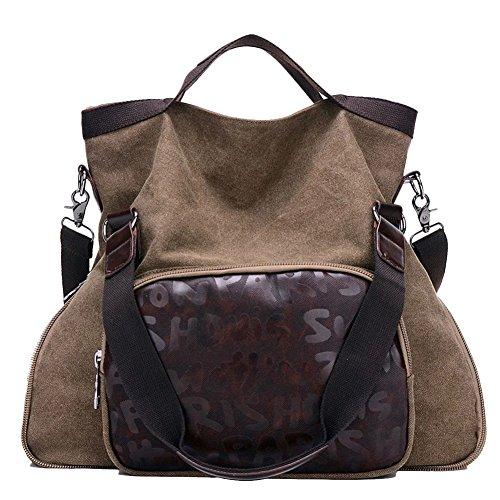 Donna Borsa A Tracolla Universitario Sacchetto Del Messaggero Casual Affari Canvas Bag Con Blu Marrone