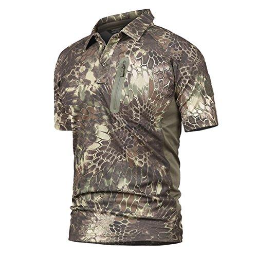 QCHENG Polo Militaire Camouflage Uniforme Tactique Séchage Rapide Manche Courte Hommes T-Shirt de Airsoft Combat Chasse Fermeture éclair Chemise